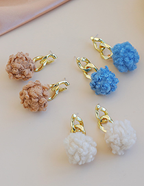 Fashion Blue Alloy Plush Ear Studs
