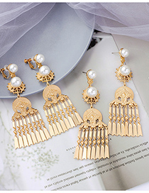 Fashion Earrings Pearl Line Tassel Without Pierced Earrings