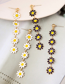 Fashion Cream White Small Daisy Oil Drop Flower Long Tassel Earrings