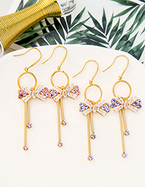 Fashion Cherry Blossom Powder Detachable Long Tassel Earrings With Bow And Diamonds
