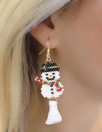Fashion Christmas Tree Set 1 Rice Beads Woven Christmas Tree Santa Claus Stainless Steel Necklace Earrings