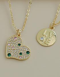 Fashion Gold Color Copper Inlaid Zircon Letter Love Necklace