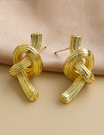 Fashion Golden Alloy Knotted Earrings