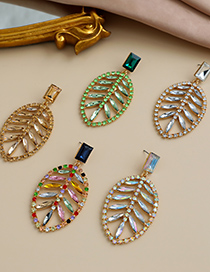Fashion Color Alloy Diamond Hollow Leaf Earrings
