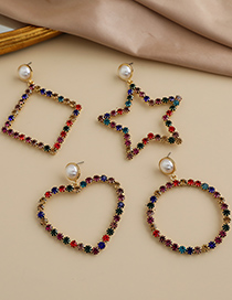 Fashion Round Alloy Diamond Hollow Geometric Shape Earrings