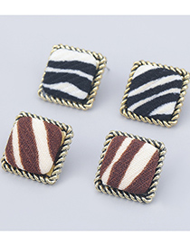 Fashion Black And White Square Geometric Alloy Striped Earrings