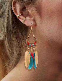 Fashion Red Feather Tassel Long Beaded Earrings