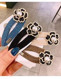 Fashion Blue Camellia Oil Pearl Geometric Alloy Hairpin