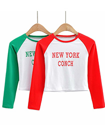 Fashion Red Colorblock Letters Printed Long-sleeved T-shirt Top