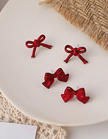 Fashion Small Model 925 Silver Needle Red Bow Earrings