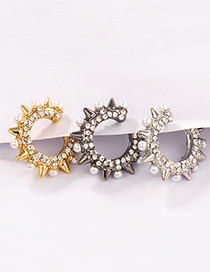 Fashion Golden Single Small Rivet Pearl Ear Bone Clip
