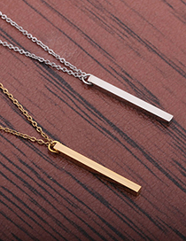 Fashion Golden Stainless Steel Chain Titanium Steel Mirror Polished Light Plate Long Pendant Necklace