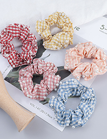 Fashion Yellow Plaid Fabric With Pearl Intestine Ring Hair Rope