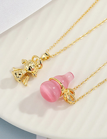Fashion Pink Crystal Gourd Necklace Crystal Copper Plated Necklace