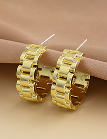 Fashion Gold Color Alloy Geometric Shape Semicircular Ear Studs