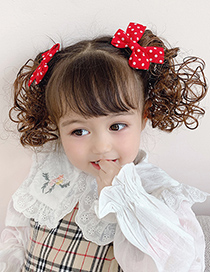 Fashion Red Bow Wig Childrens Bow Hairpin Strap Wig
