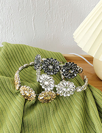 Fashion Champagne Yellow Rhinestone Flower Thin Edge Alloy Headband