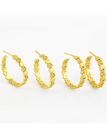 Fashion Flowers Gold-plated Copper Earrings With Diamonds And Geometric C-shaped Flowers