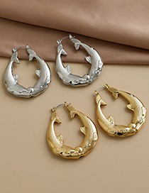 Fashion Gold Color Alloy Goldfish Round Earrings