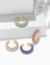 Fashion Blue C-shaped Point Diamond Alloy Asymmetric Ear Clip Earrings
