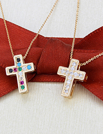 Fashion Gold-plated White Zirconium Gold-plated Copper Necklace With Diamond Cross