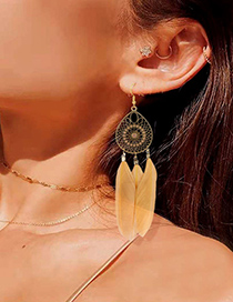 Fashion Yellow Alloy Hollow Mesh Feather Tassel Earrings