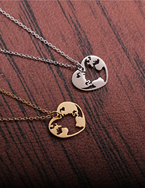 Fashion Gold Color World Map Titanium Steel Stainless Steel World Map Love Heart Pendant Necklace