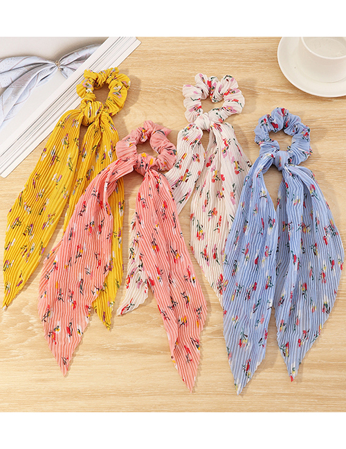 Fashion White Flower Print Knotted Chiffon Streamer Large Intestine Circle Hair Rope