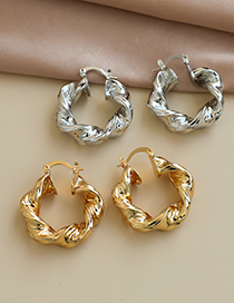 Fashion Gold Color Alloy Twisted Round Ear Studs