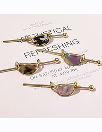 Fashion Oval Marble Rainbow Acetate Plate Geometric Alloy Hairpin