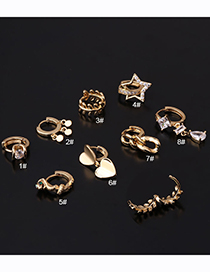 Fashion Silver Color 1# Geometric Irregular Gold-plated Copper Single Earring With Diamonds