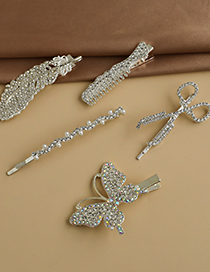 Fashion Silver Alloy Diamond Feather Butterfly Scissors Comb Hairpin Set