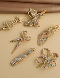 Fashion Golden Alloy Diamond Butterfly Scissors Feather Comb Fish Bone Hair Clip Set