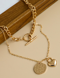 Fashion Golden Alloy Chain Love Double Necklace