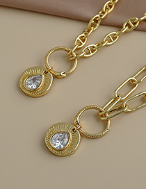 Fashion Golden Copper Inlaid Zircon Thick Chain Snake Ring Water Drop Necklace