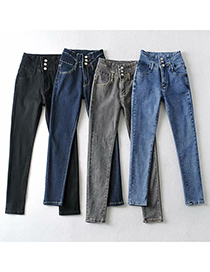 Fashion Grey Single Fleece High-waisted Breasted Slim-fit High-stretch Jeans