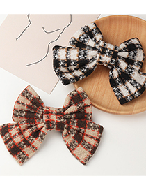 Fashion Coffee Color Large Lattice Bow Fabric Hairpin