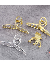 Fashion Big Golden Frosted Hairpin Alloy Geometric Hollow Shark Clip