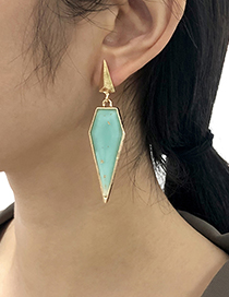 Fashion Blue Alloy Resin Geometric Earrings