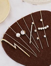 Fashion Golden 12 Real Gold-plated Diamonds Geometric Piercing Around The Ear Bone Clip