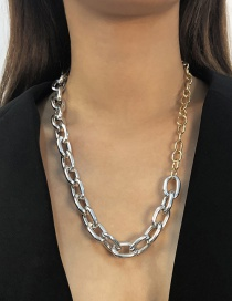 Fashion Gold+white K Alloy Chain Necklace