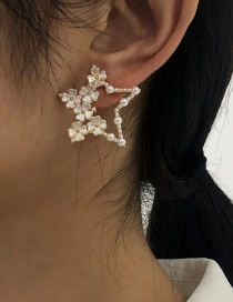 Fashion White Alloy Pearl Five-pointed Star Stud Earrings