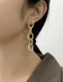 Fashion Golden Alloy Round Ear Studs
