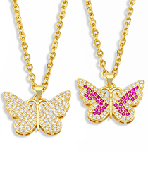 Fashion White Copper Inlaid Zircon Butterfly Pendant Necklace