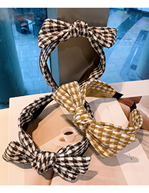Fashion Yellow Houndstooth Color Matching Bow Fabric Hair Band