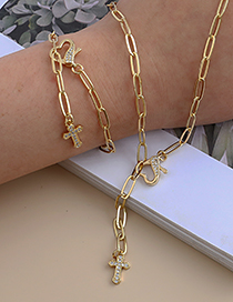Fashion Golden Copper Inlaid Zircon Cross Heart Y-shaped Necklace
