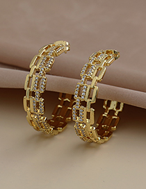 Fashion Golden Copper Inlaid Zircon Ring Earrings