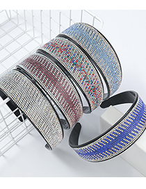 Fashion White Resin Diamond-studded Acrylic Hair Band With Horizontal And Vertical Stripes