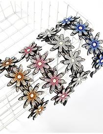 Diadema De Uñas Con Dientes De Flores Acrílicas Con Diamantes De Resina