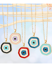 Fashion Red Multilayer Round Eye Drop Oil Pendant Necklace